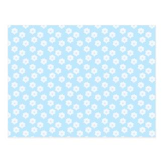 Cartão Postal Teste padrão floral azul Pastel bonito