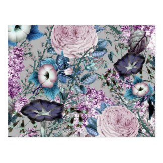 Cartão Postal Teste padrão floral botânico da lavanda bonito