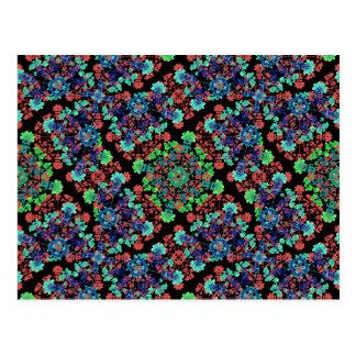 Cartão Postal Teste padrão floral colorido da colagem