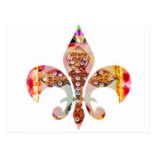 Cartão Postal Teste padrão floral da jóia de Fleur di lis Flor