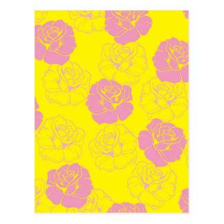 Cartão Postal Teste padrão floral do rosa cor-de-rosa e amarelo