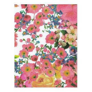 Cartão Postal teste padrão floral do tema das flores elegantes