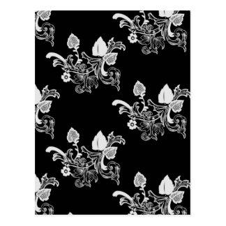 Cartão Postal Teste padrão floral do vintage preto & branco