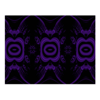 Cartão Postal Teste padrão floral preto e roxo gótico