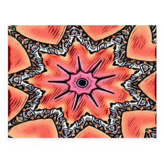 Cartão Postal Teste padrão Funky do caleidoscópio cor-de-rosa do