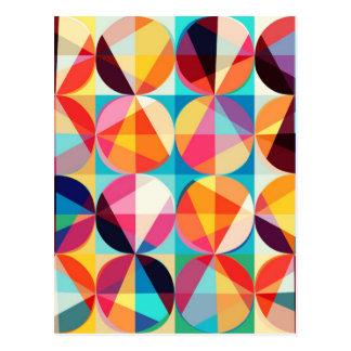 Cartão Postal Teste padrão geométrico de Kaledioscope do círculo