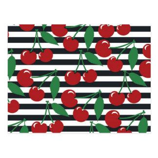 Cartão Postal Teste padrão listrado retro da cereja