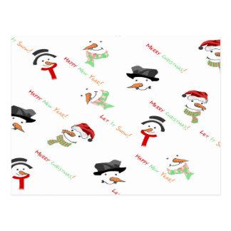 Cartão Postal Teste padrão lunático do boneco de neve do Natal