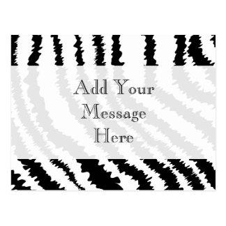 Cartão Postal Teste padrão preto do impressão da zebra
