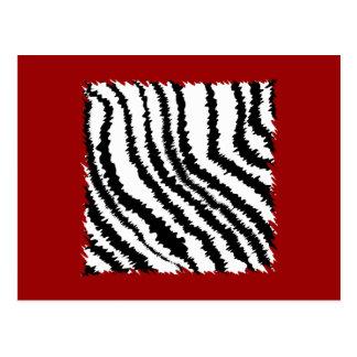 Cartão Postal Teste padrão preto do impressão da zebra em