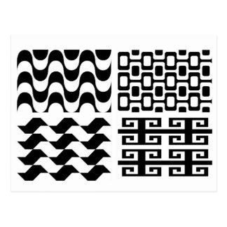 Cartão Postal Teste padrão preto e branco