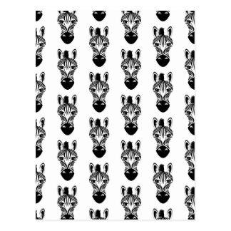 Cartão Postal Teste padrão preto e branco da zebra