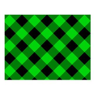 Cartão Postal Teste padrão preto e verde do guingão
