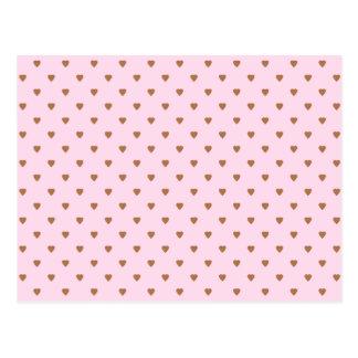 Cartão Postal Teste padrão rosa pálido e marrom do coração