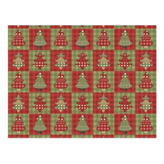 Cartão Postal Teste padrão tradicional da árvore de Natal do