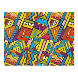 Cartão Postal Teste padrão tribal africano geométrico colorido