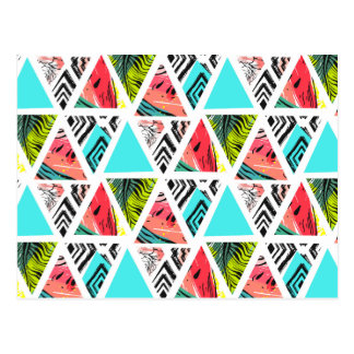 Cartão Postal Teste padrão tropical abstrato colorido