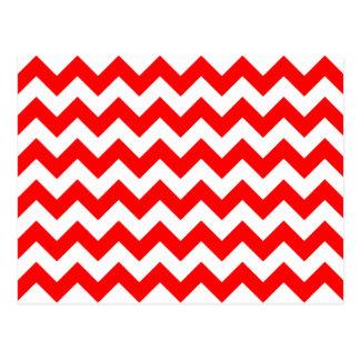 Cartão Postal Teste padrão vermelho customizável de Chevron