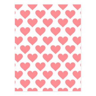 Cartão Postal Teste padrão vermelho do coração