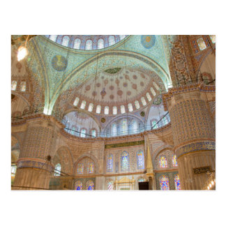 Cartão Postal Teto abobadado interior colorido da mesquita azul