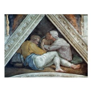 Cartão Postal Teto da capela de Sistine: Os antepassados do