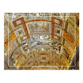Cartão Postal Teto na galeria dos mapas, museus do vaticano