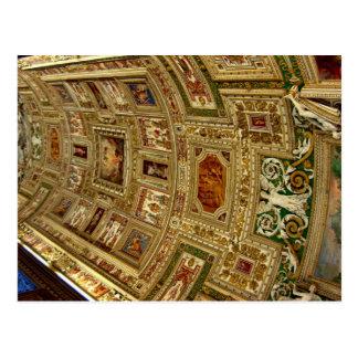 Cartão Postal Teto no museu do vaticano em Roma Italia Postca
