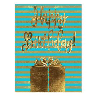 Cartão Postal Texto do ouro de turquesa do presente do feliz