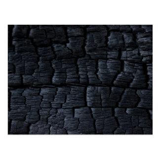 Cartão Postal Textura de madeira queimada do falso