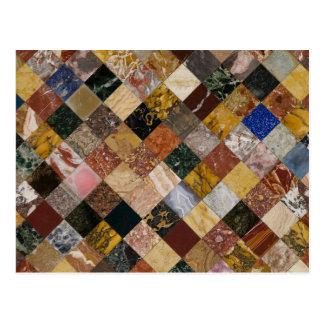 Cartão Postal Textura de mármore colorida elegante da pedra da