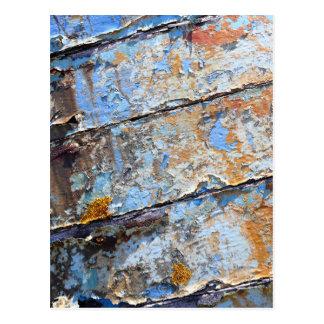 Cartão Postal Textura rachada azul do barco velho