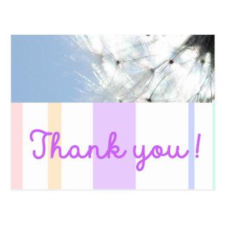 Cartão Postal Thank you! Pusteblume bonita agradecer