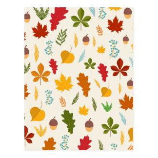 Cartão Postal Thankgiving decoritive sazonal das folhas de