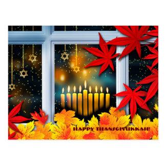 Cartão Postal Thanksgivukkah feliz. Hanukkah e acção de graças