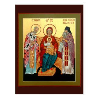 Cartão Postal Theotokos com São Nicolau e Seraphim abençoados
