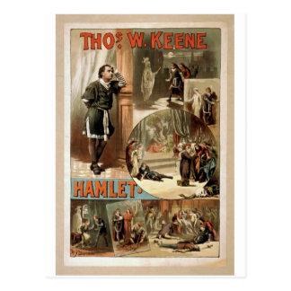 Cartão Postal Tho. W. Keene, teatro retro de Hamlet