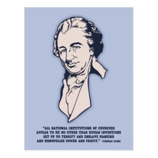 Cartão Postal Thomas Paine - Mega-Igrejas