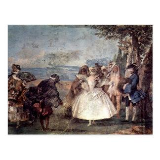 Cartão Postal Tiepolo-Minuet de Giovanni com Pantaloon &