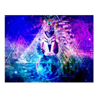 Cartão Postal Tigre da galáxia - tigre cor-de-rosa - 3d tigre -