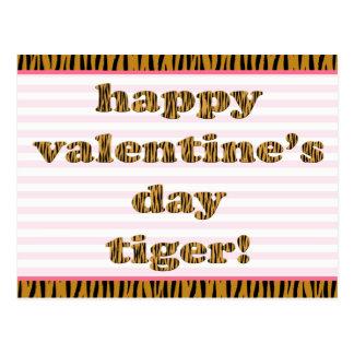 Cartão Postal Tigre do feliz dia dos namorados! Listras &