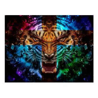 Cartão Postal Tigre transversal - tigre irritado - cara do tigre