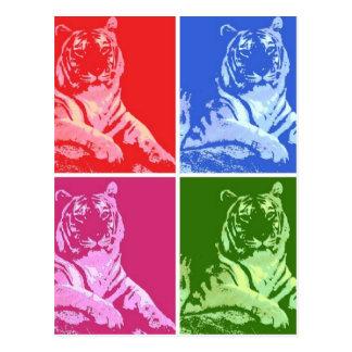 Cartão Postal Tigres coloridos