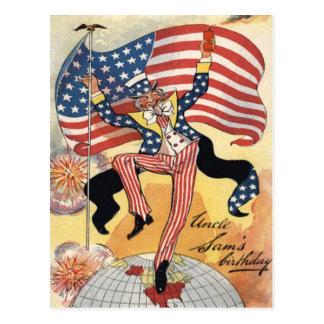 Cartão Postal Tio Sam do foguete dos fogos-de-artifício da