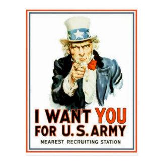 Cartão Postal Tio Sam eu quero-o exército