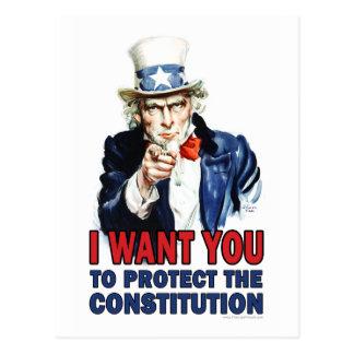 Cartão Postal Tio Sam: Eu quero-o proteger a constituição