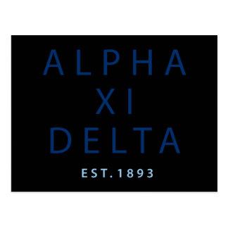 Cartão Postal Tipo moderno do delta do alfa Xi