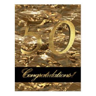 Cartão Postal Tipografia do ouro do aniversário do número 50