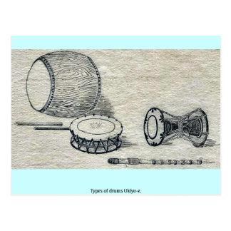 Cartão Postal Tipos dos cilindros Ukiyo-e.