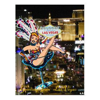 Cartão Postal Tira, artista, e sinal de boas-vindas de Las Vegas
