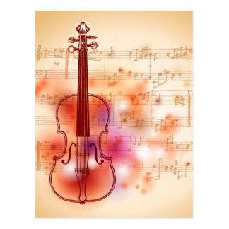 Cartão Postal Tiragem no fundo da aguarela do violino